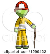 Green Firefighter Fireman Man Standing With Hiking Stick