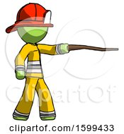 Green Firefighter Fireman Man Pointing With Hiking Stick
