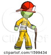 Green Firefighter Fireman Man Walking With Hiking Stick