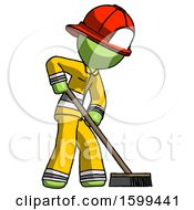 Green Firefighter Fireman Man Cleaning Services Janitor Sweeping Side View