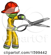 Green Firefighter Fireman Man Holding Giant Scissors Cutting Out Something