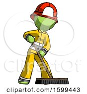 Green Firefighter Fireman Man Cleaning Services Janitor Sweeping Floor With Push Broom