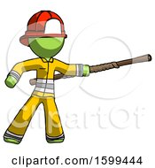Green Firefighter Fireman Man Bo Staff Pointing Right Kung Fu Pose