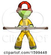 Green Firefighter Fireman Man Bo Staff Kung Fu Defense Pose