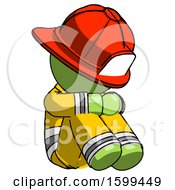 Green Firefighter Fireman Man Sitting With Head Down Facing Angle Right