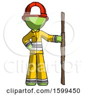 Green Firefighter Fireman Man Holding Staff Or Bo Staff