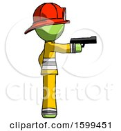 Green Firefighter Fireman Man Firing A Handgun