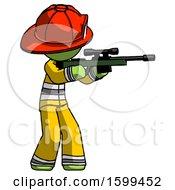 Green Firefighter Fireman Man Shooting Sniper Rifle