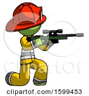 Green Firefighter Fireman Man Kneeling Shooting Sniper Rifle