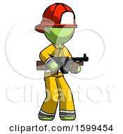 Green Firefighter Fireman Man Tommy Gun Gangster Shooting Pose