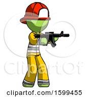 Green Firefighter Fireman Man Shooting Automatic Assault Weapon