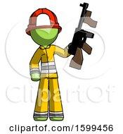 Green Firefighter Fireman Man Holding Tommygun