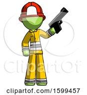 Green Firefighter Fireman Man Holding Handgun