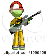 Green Firefighter Fireman Man Holding Sniper Rifle Gun