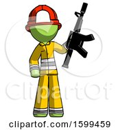 Green Firefighter Fireman Man Holding Automatic Gun