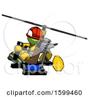 Green Firefighter Fireman Man Flying In Gyrocopter Front Side Angle Top View