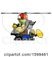Green Firefighter Fireman Man Flying In Gyrocopter Front Side Angle View