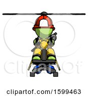 Green Firefighter Fireman Man Flying In Gyrocopter Front View
