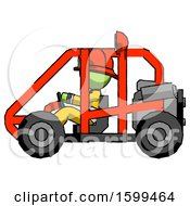 Poster, Art Print Of Green Firefighter Fireman Man Riding Sports Buggy Side View