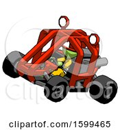 Poster, Art Print Of Green Firefighter Fireman Man Riding Sports Buggy Side Top Angle View