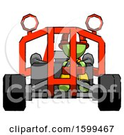 Poster, Art Print Of Green Firefighter Fireman Man Riding Sports Buggy Front View