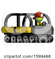 Poster, Art Print Of Green Firefighter Fireman Man Driving Amphibious Tracked Vehicle Side Angle View