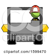 Poster, Art Print Of Green Firefighter Fireman Man Driving Amphibious Tracked Vehicle Front View