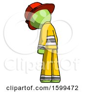Green Firefighter Fireman Man Depressed With Head Down Back To Viewer Left
