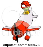 Green Firefighter Fireman Man In Geebee Stunt Plane Descending Front Angle View