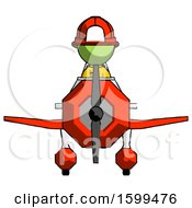 Green Firefighter Fireman Man In Geebee Stunt Plane Front View