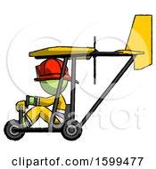 Green Firefighter Fireman Man In Ultralight Aircraft Side View