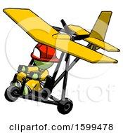 Green Firefighter Fireman Man In Ultralight Aircraft Top Side View