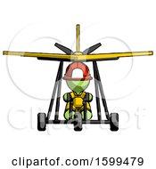Green Firefighter Fireman Man In Ultralight Aircraft Front View