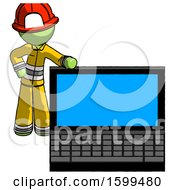 Green Firefighter Fireman Man Beside Large Laptop Computer Leaning Against It