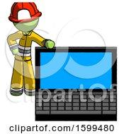 Green Firefighter Fireman Man Beside Large Laptop Computer Leaning Against It