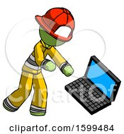 Green Firefighter Fireman Man Throwing Laptop Computer In Frustration