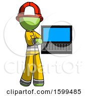 Green Firefighter Fireman Man Holding Laptop Computer Presenting Something On Screen