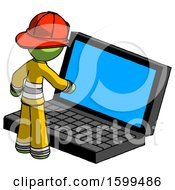 Green Firefighter Fireman Man Using Large Laptop Computer