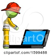 Green Firefighter Fireman Man Using Large Laptop Computer Side Orthographic View