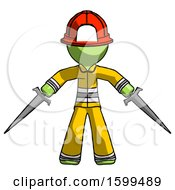 Green Firefighter Fireman Man Two Sword Defense Pose