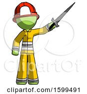 Green Firefighter Fireman Man Holding Sword In The Air Victoriously