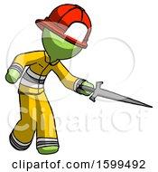 Green Firefighter Fireman Man Sword Pose Stabbing Or Jabbing