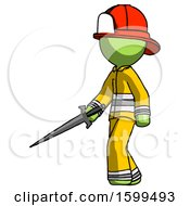 Poster, Art Print Of Green Firefighter Fireman Man With Sword Walking Confidently