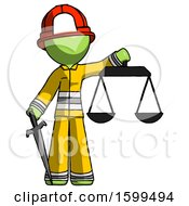 Poster, Art Print Of Green Firefighter Fireman Man Justice Concept With Scales And Sword Justicia Derived