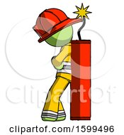 Green Firefighter Fireman Man Leaning Against Dynimate Large Stick Ready To Blow