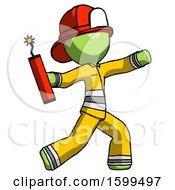 Poster, Art Print Of Green Firefighter Fireman Man Throwing Dynamite