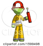 Green Firefighter Fireman Man Holding Dynamite With Fuse Lit