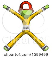 Poster, Art Print Of Green Firefighter Fireman Man With Arms And Legs Stretched Out
