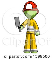 Poster, Art Print Of Green Firefighter Fireman Man Holding Meat Cleaver