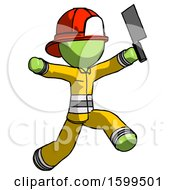 Green Firefighter Fireman Man Psycho Running With Meat Cleaver